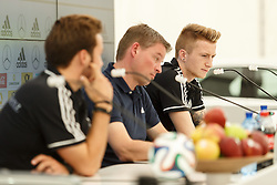 24.05.2014, Sportplatz, St. Martin Passeiertal, ITA, FIFA WM, Vorbereitung Deutschland, im Bild Marco Reus (Deutschland), im Vordergrund Mario Goetze (Deutschland) und Pressesprecher Jens Grittner // during Trainingscamp of Team Germany for Preparation of the FIFA Worldcup Brasil 2014 at the Sportplatz in St. Martin Passeiertal, Italy on 2014/05/24. EXPA Pictures © 2014, PhotoCredit: EXPA/ Eibner-Pressefoto/ Neis<br /> <br /> *****ATTENTION - OUT of GER*****