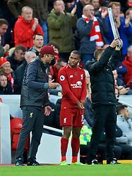 LIVERPOOL, ENGLAND - Sunday, October 7, 2018: Liverpool's manager Jürgen Klopp prepares to bring on substitute Daniel Sturridge during the FA Premier League match between Liverpool FC and Manchester City FC at Anfield. (Pic by David Rawcliffe/Propaganda)