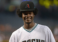 PHOENIX, AZ - JUNE 23:  Josh Jackson of the Phoenix Suns smiles after throwing out the ceremonial first pitch for the Philadelphia Phillies and Arizona Diamondbacks MLB game at Chase Field on June 23, 2017 in Phoenix, Arizona. Jackson is the Phoenix Suns 2017 first-round draft pick. (Photo by Jennifer Stewart/Getty Images)
