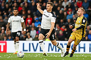 Derby County forward Chris Martin  stretches for the ball during the EFL Sky Bet Championship match between Derby County and Sheffield Wednesday at Pride Park Stadium, Derby, England on 21 October 2017. Photo by Aaron  Lupton.