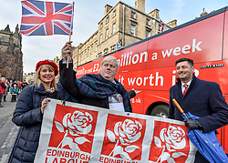 Pictured: Boris Johnson look-alike Drew Galdron with Edinburgh Labour councillors Cammy Day and Lezley Cameron.<br /> <br /> Campaigners demanding Britain stays in the EU took a 'brexit bus' to Edinburgh on Saturday, complete with a Boris Johnson look-alike to get their message accross.<br /> <br /> &copy; Dave Johnston / EEm