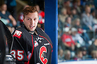 KELOWNA, CANADA - FEBRUARY 18: Ty Edmonds #35 of the Prince George Cougars stands on the bench against the Kelowna Rockets on February 18, 2017 at Prospera Place in Kelowna, British Columbia, Canada.  (Photo by Marissa Baecker/Shoot the Breeze)  *** Local Caption ***
