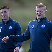 St Johnstone Training...<br /> Left back Brian Easton enjoying himself during training alongside Michael O'Halloran<br /> Picture by Graeme Hart.<br /> Copyright Perthshire Picture Agency<br /> Tel: 01738 623350  Mobile: 07990 594431