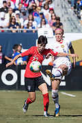 USA defender Becky Sauerbrunn (4) battles South Korea player during an international friendly in Chicago, Sunday, Oct. 6, 2019, in Chicago. USWNT tied the Korea Republic 1-1. (Max Siker/Image of Sport)
