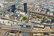 Nederland, Friesland, Leeuwarden, 04-11-2018; Leeuwarden (Ljouwert), NS station met omgeving: Stationsplein, Stationsweg, Zuidersingel, Lange Marktstraat, Willemskade. Achmea toren.<br /> Leeuwarden city centre, railway station.<br /> <br /> luchtfoto (toeslag op standaard tarieven);<br /> aerial photo (additional fee required);<br /> copyright © foto/photo Siebe Swart