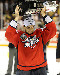 Marc Cundari and the Windsor Spitfires won the 2010 MasterCard Memorial Cup in Brandon, MB with a 9-1 win over the host Wheat Kings on Sunday May 23. Photo by Aaron Bell/CHL Images