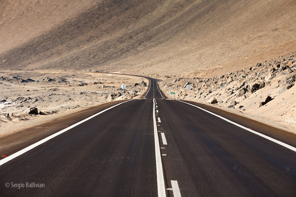 The Panamerican Highway slices through the northern Atacama desert in northern Chile.
