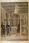 Joseph Marie Jacquard (1752-1834) French silk-weaver and inventor showing his loom to Lazare Carnot (1753-1823) at Lyon (1801). Punched cards on which pattern encoded are at right of loom