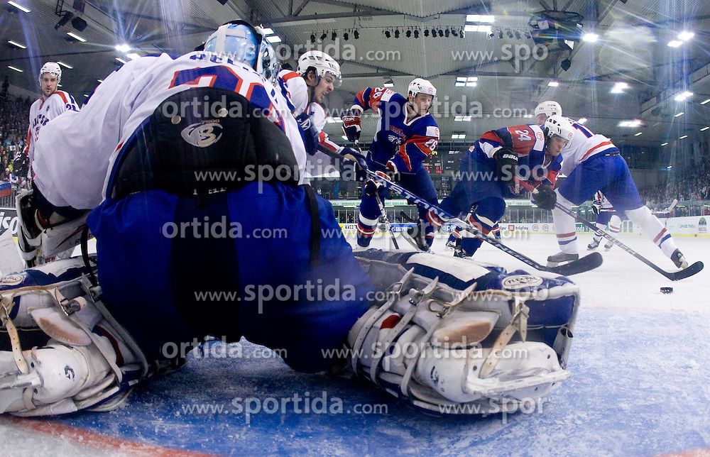 BELIC Vanja of Croatia, URBAS Jan of Slovenia, TICAR Rok of Slovenia   at IIHF Ice-hockey World Championships Division I Group B match between National teams of Slovenia and Croatia, on April 18, 2010, in Tivoli hall, Ljubljana, Slovenia.  (Photo by Vid Ponikvar / Sportida)