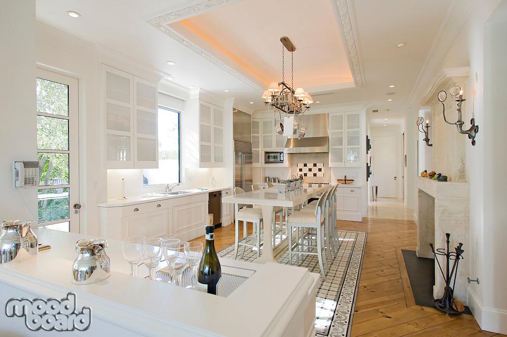 Elegant white kitchen in luxury manor house