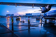 An early morning view of a wet tarmac at Saigon, Ho Chi Minh City, airport.