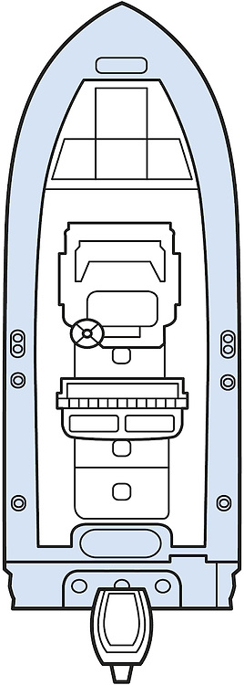 A vector illustration of a 22 foot outboard boat overhead