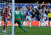 Clint Hill (C) celebrates his opener late in the first half during the Sky Bet Championship match between Queens Park Rangers and Cardiff City at the Loftus Road Stadium, London, England on 15 August 2015. Photo by Andy Walter.