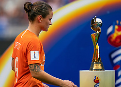 07-07-2019 FRA: Final USA - Netherlands, Lyon<br /> FIFA Women's World Cup France final match between United States of America and Netherlands at Parc Olympique Lyonnais. USA won 2-0 / Sherida Spitse #8 of the Netherlands, World Cup Trophy