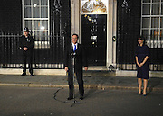 © under license to London News Pictures. 11/05/10. David Cameron makes a speech telling the media he has accepted Queen Elizabeth II's invitation to form a new Government. British Prime Minister Gordon Brown has resigned his position and David Cameron has become the new British Prime Minister on May 11, 2010. The Conservative and Liberal Democrats are to form a coalition government after five days of negotiation. Photo credit should read Stephen Simpson/LNP
