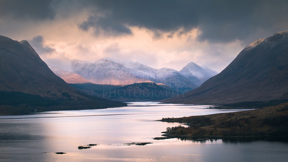 Looking north over Loch Etive to the mountains of Glen Coe