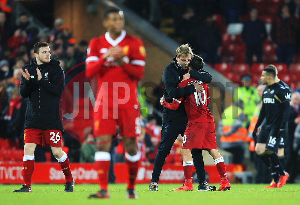 Liverpool manager Jurgen Klopp celebrates with Philippe Coutinho at full time - Mandatory by-line: Matt McNulty/JMP - 26/12/2017 - FOOTBALL - Anfield - Liverpool, England - Liverpool v Swansea City - Premier League