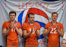 28-08-2016 NED: Nederland - Slowakije, Nieuwegein<br /> Het Nederlands team heeft de oefencampagne tegen Slowakije met een derde overwinning op rij afgesloten. In een uitverkocht Sportcomplex Merwestein won Nederland met 3-0 van Slowakije / Michael Parkinson #17, Wouter ter Maat #16, Auke van de Kamp #22