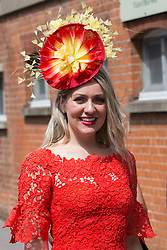 Ascot, UK. 20 June, 2019. A racegoer wearing a beautiful fascinator Ladies Day at Royal Ascot.