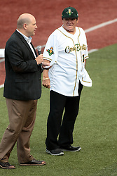 09 July 2015: Pete Rose know affectionately to fans as Charlie Hustle the current Major League Baseball all time hits leader addresses the crowd at the stadium before the game. Pete Rose night during a Frontier League Baseball game between the Schaumburg Boomers and the Normal CornBelters at Corn Crib Stadium on the campus of Heartland Community College in Normal Illinois