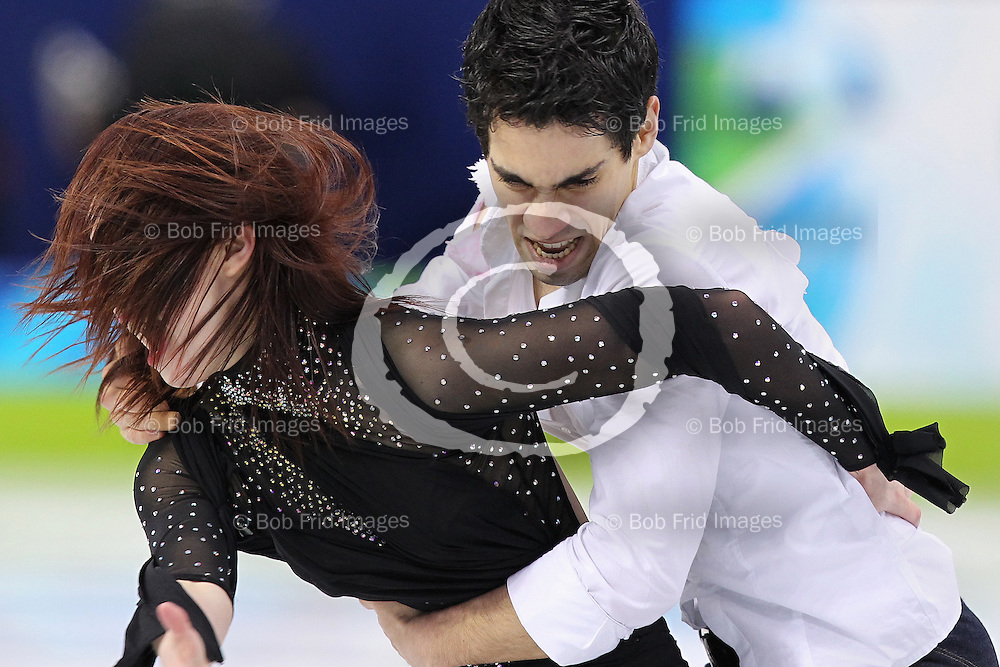22 February 2010: Italy's Anna Cappellini and Luca Lanotte during the figure skating ice dance  Free Skate program held at the Pacific Coliseum during the Vancouver 2010 Winter Olympics  in Vancouver,  British Columbia, Canada..