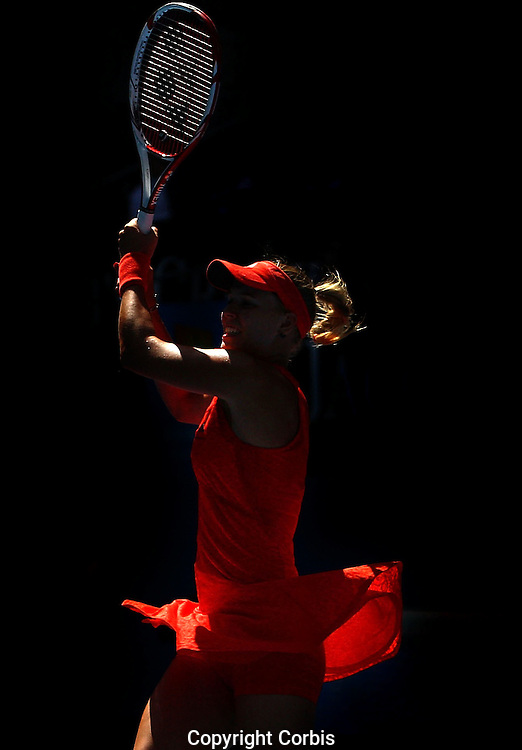 MELBOURNE, AUSTRALIA - JANUARY 18:  Caroline Wozniacki of Denmark advanced to the fourt round after defeating Anna Tatishvili of Georgia during the third day of the Australian Open.  (Photo by Marianna Massey/Marianna Massey) *** Local Caption *** Caroline Wozniacki