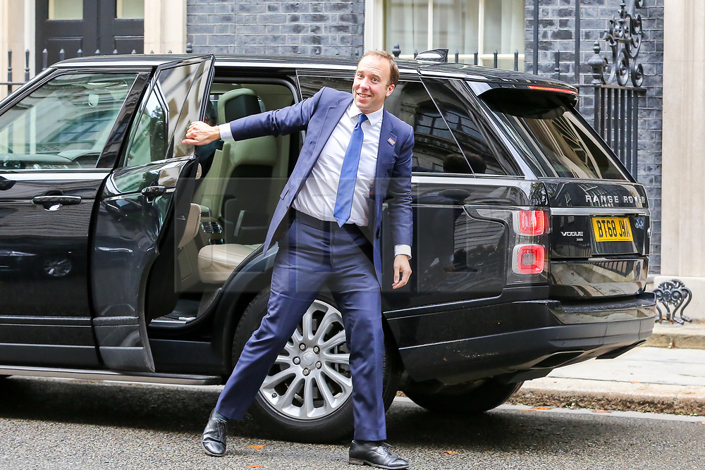 © Licensed to London News Pictures. 16/10/2019. London, UK. Secretary of State for Health and Social Care MATT HANCOCK arrives in Downing Street to attend the weekly cabinet meeting. This week's cabinet meeting was postponed by one day on Tuesday 15 October amid a final push for a Brexit agreement that can be sealed in time for the European Council summit in Brussels on Thursday and Friday. Photo credit: Dinendra Haria/LNP