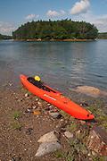 Kayak on Lower Negro Island Sand Bar, Castine, Maine, US