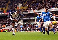 Photo: Daniel Hambury.<br />Tottenham Hotspur v Birmingham City. The Barclays Premiership. 26/12/2005.<br />Tottenham's Jermaine Defoe (L) hammers in the second goal.