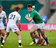 Ireland centre Shane Daly breaks through during the World Rugby U20 Championship Final   match England U20 -V- Ireland U20 at The AJ Bell Stadium, Salford, Greater Manchester, England onSaturday, June 25, 2016. (Steve Flynn/Image of Sport)