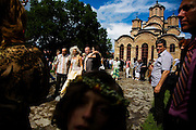 A Serbian orthodox wedding at the Gracanica Monestary, which is at the center of a Serbian enclave 5km from Prishtina, Kosovo.