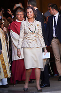 Queen Sofia of Spain leave the Cathedral of Palma de Mallorca after Easter Mass on April 1, 2018 in Palma de Mallorca, Spain