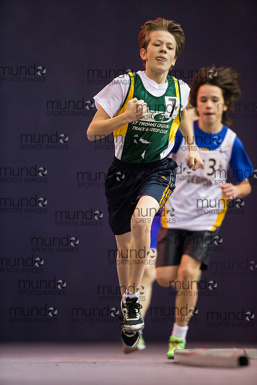 Kaden Vansevenant of St. Thomas Legion TFC competes at the STL-LW All Comers Meet # 2 in London, Ontario, Saturday, January 24, 2015.<br /> Mundo Sport Images/ Geoff Robins