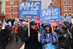 © Licensed to London News Pictures. 03/02/2018. London, UK. Demonstrators take part in a emergency NHS 'Fix It Now' protest demanding an end to the funding crisis in the Health Service. Photo credit: Ray Tang/LNP