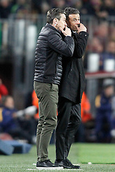 02.04.2016, Camp Nou, Barcelona, ESP, Primera Division, FC Barcelona vs Real Madrid, 31. Runde, im Bild FC Barcelona's coach Luis Enrique Martinez with his second Juan Carlos Unzue (l) // during the Spanish Primera Division 31th round match between Athletic Club and Real Madrid at the Camp Nou in Barcelona, Spain on 2016/04/02. EXPA Pictures © 2016, PhotoCredit: EXPA/ Alterphotos/ Acero<br /> <br /> *****ATTENTION - OUT of ESP, SUI*****