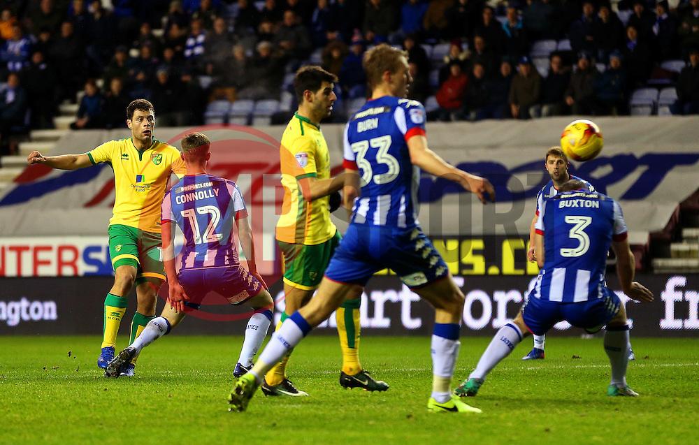 Yanic Wildschut of Norwich City fires a shot at goal  - Mandatory by-line: Matt McNulty/JMP - 07/02/2017 - FOOTBALL - DW Stadium - Wigan, England - Wigan Athletic v Norwich City - Sky Bet Championship