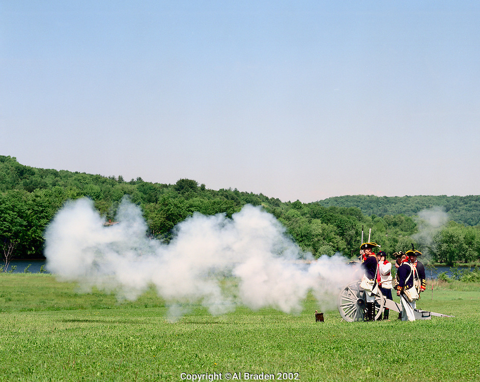 Canon fire on the banks of the Connecticut during war games, Fort at No. 4, Charlestown, New Hampshire