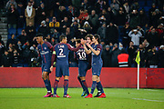 Edinson Roberto Paulo Cavani Gomez (psg) (El Matador) (El Botija) (Florestan) scored the second goal of the game, celebration with Thiago Silva (PSG), Neymar da Silva Santos Junior - Neymar Jr (PSG), Adrien Rabiot (psg), Presnel Kimpembe (PSG) during the French Championship Ligue 1 football match between Paris Saint-Germain and ESTAC Troyes on November 29, 2017 at Parc des Princes stadium in Paris, France - Photo Stephane Allaman / ProSportsImages / DPPI