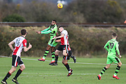 Forest Green Rovers Dan Wishart(17) heads the ball the ball clear during the The Central League match between Cheltenham Town Reserves and Forest Green Rovers Reserves at The Energy Check Training Ground, Cheltenham, United Kingdom on 28 November 2017. Photo by Shane Healey.