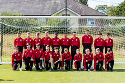 WREXHAM, WALES - Thursday, August 15, 2019: Wales Under-15 squad pose for a photograph before the UEFA Under-15's Development Tournament match between Wales and Northern Ireland at Colliers Park. (Pic by Paul Greenwood/Propaganda)