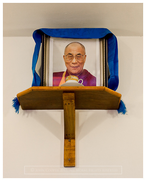 Shrine to His Holiness The Dalai Lama. Macleod Gang. Himashal Pradesh, India.