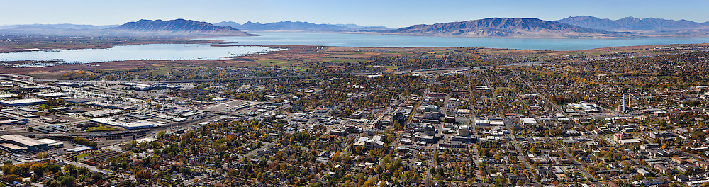 Multi-Image aerial panoramic of downtown Provo with Utah Lake in the background