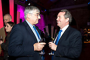 MICHAEL HINTZE; LIAM FOX, Party after the opening of 'Flea in her Ear' . The Old Vic. ( John Mortimer write the translation of theplay.) Vinioplois. 14 December 2010. DO NOT ARCHIVE-© Copyright Photograph by Dafydd Jones. 248 Clapham Rd. London SW9 0PZ. Tel 0207 820 0771. www.dafjones.com.