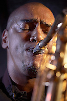 Saxophone player on stage portrait close-up