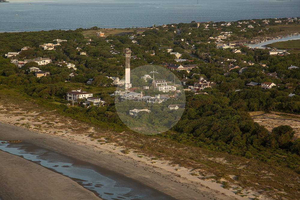 Aerial view of beachfront mansions on Sullivan's Island in Charleston, SC