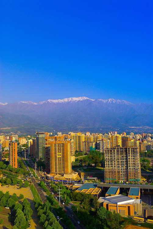View of buildings (with Los Angeles Mountain, Andes Mountains) in the Los Condes section of Santiago, Chile