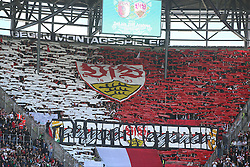 16.04.2016, WWK Arena, Augsburg, GER, 1. FBL, FC Augsburg vs VfB Stuttgart, 30. Runde, im Bild VfB Stuttgart Fans // during the German Bundesliga 30th round match between FC Augsburg and VfB Stuttgart at the WWK Arena in Augsburg, Germany on 2016/04/16. EXPA Pictures © 2016, PhotoCredit: EXPA/ Eibner-Pressefoto/ Langer<br /> <br /> *****ATTENTION - OUT of GER*****