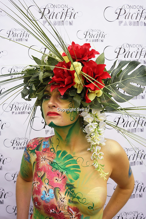 London England,UK: 17th September 2016: The Living Art Show presentation at the  LFW S/S 2017 : The London Pacific Collective of A Pacific Fashion Show host by London Pacific Fashion Ltd at Grand Connaught Rooms Rooftop in London. Photo by See Li