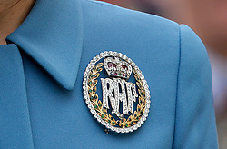 © Licensed to London News Pictures. 07/02/2016. <br /> LONDON, UK. The DUCHESS OF CAMBRIDGE wears an RAF brooch during an engagement where she visits St Clements Dane Church and The Royal Courts of Justice for the 75th Anniversary of the formation of the Air Cadet Corps, London, Sunday 07 February 2016. Photo credit : Hannah McKay/LNP
