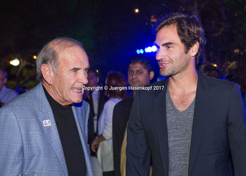 ROGER FEDERER (SUI) und Colm McLoughlin (DDF), Players Party Players Party<br /> <br /> Tennis - Dubai Duty Free Tennis Championships - ATP -  Players Party - Dubai -  - United Arab Emirates  - 28 February 2017. <br /> &copy; Juergen Hasenkopf